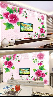 玫瑰倒影3D方框电视背景墙模板下载