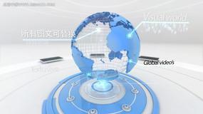 蓝色地球科技企业片头AE模板