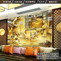 中国风木雕壁画客厅背景墙设计