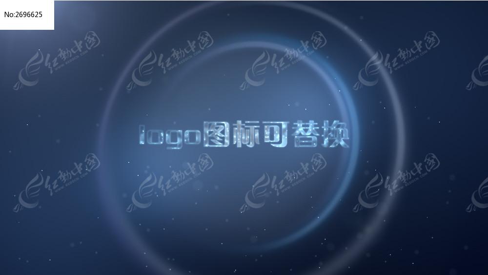 蓝色粒子光线logo文字演绎ae模板