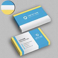 黄蓝色简约名片设计