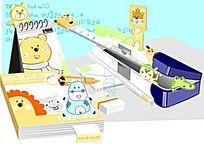 卡通动物文具图案