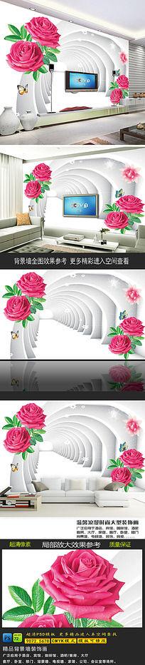 8款 时尚玫瑰花空间3D背景墙psd设计下载