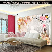 3D梦幻时尚花朵电视墙