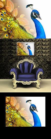 富贵花鸟客厅装饰画