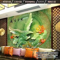 3D大展宏图玉雕客厅电视背景墙