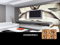 创意抽象图案电视背景墙
