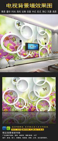 春天花卉3D电视背景墙