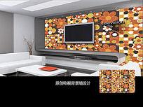 黄色花朵电视背景墙设计