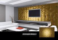 金色图案电视背景墙