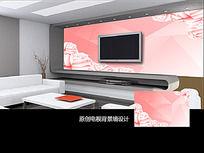 浪漫粉色玫瑰电视背景墙
