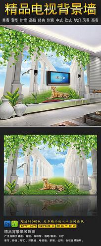 13款 3D立体罗马柱电视背景墙