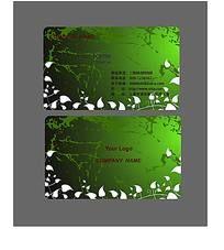 绿色花纹名片设计