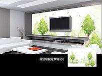 绿色树木客厅电视背景墙