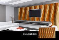 线条叠加客厅电视背景墙