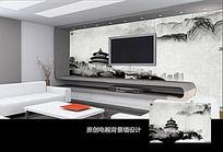 中国风水墨建筑电视背景墙