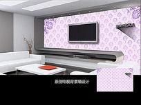 自己简约花朵电视背景墙