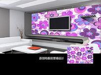 紫色花藤客厅电视背景墙