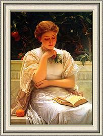 花园里的读书少女油画室内装饰画