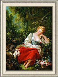 花园里的女神人物油画室内装饰画