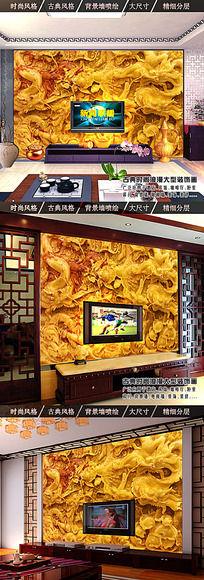 3D龙纹玉雕背景墙壁画 PSD