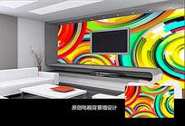 抽象创意图案电视背景墙