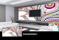 抽象线条图案电视背景墙 PSD