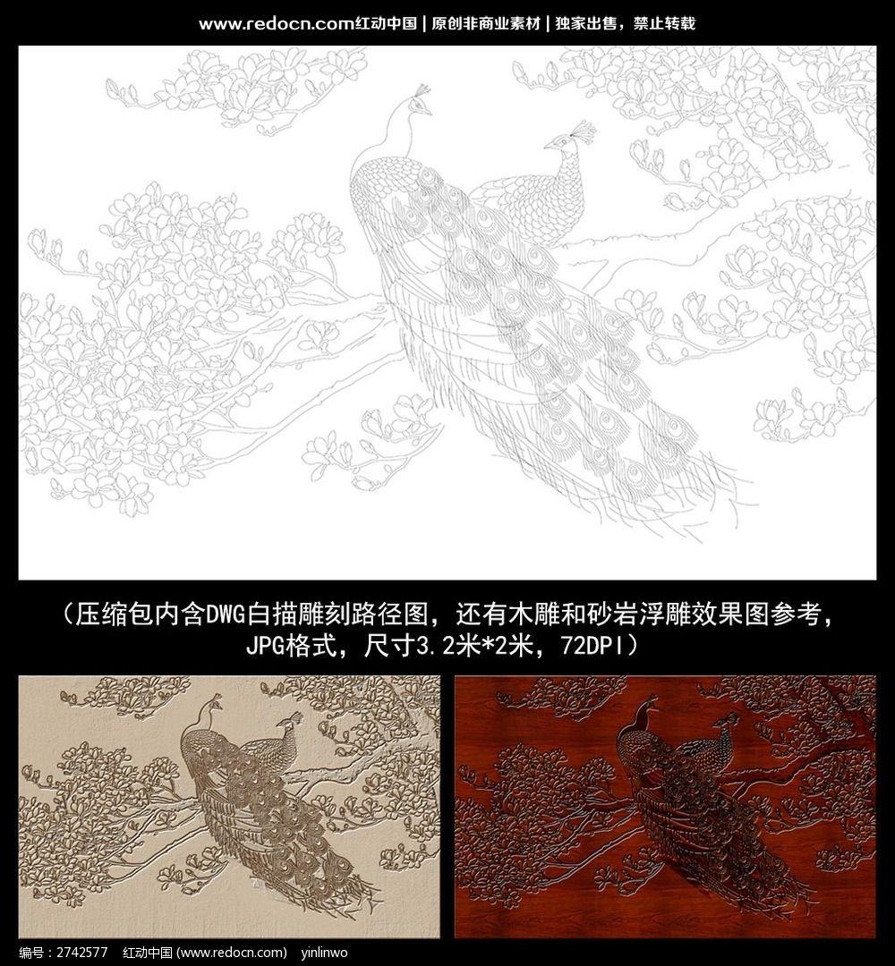 孔雀白玉兰白描雕刻图案图片