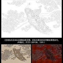 孔雀白玉兰白描雕刻图案
