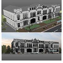 欧式会所建筑SU模型