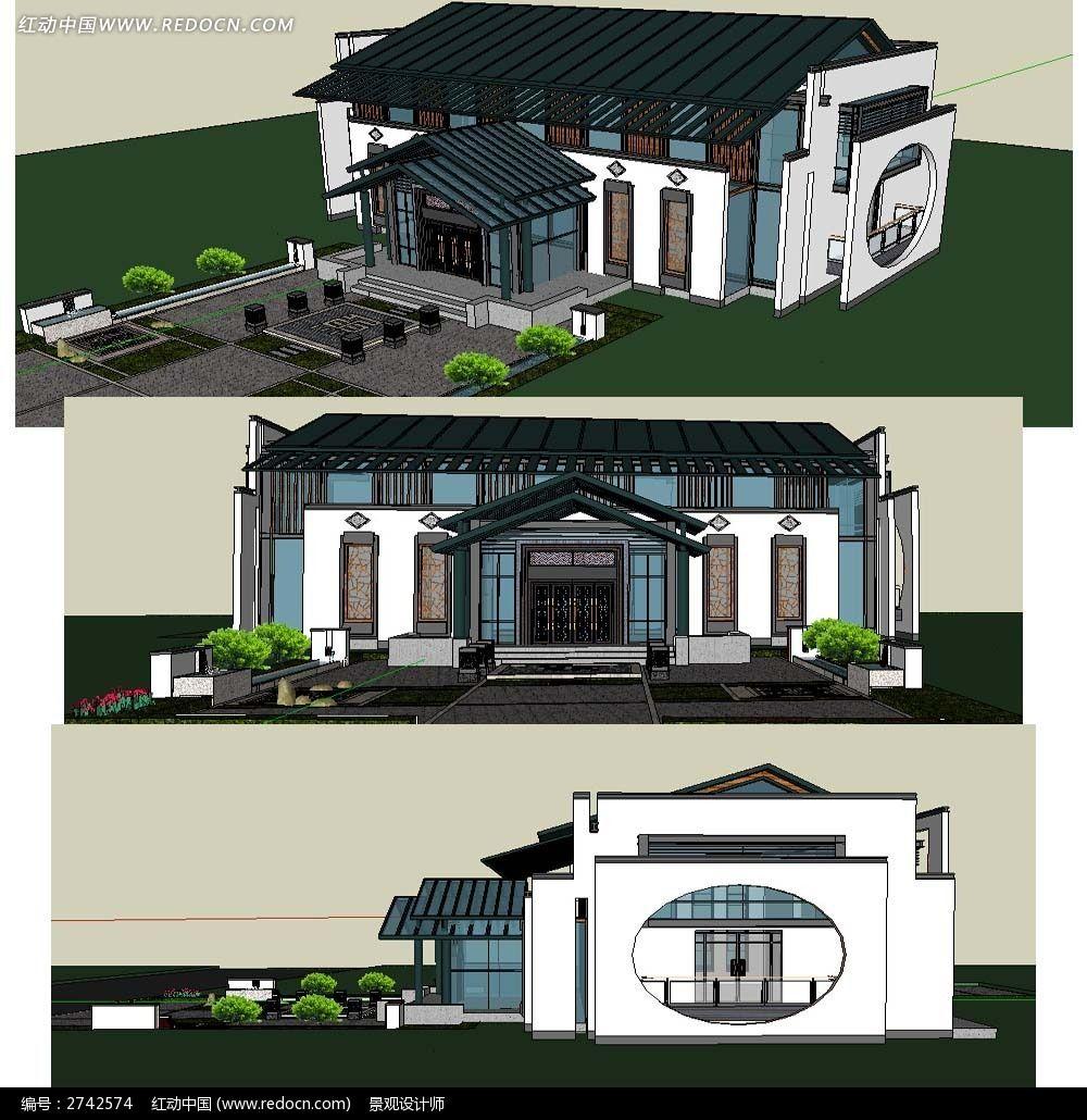 原创设计稿 3d模型库 景观全模 现代中式会所建筑su模型图片