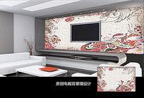 中国传统花纹电视背景墙