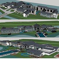 15款 草图大师中式建筑SU建筑模型