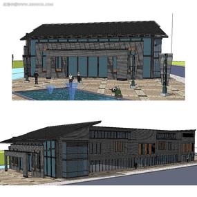 中式商业建筑SU模型