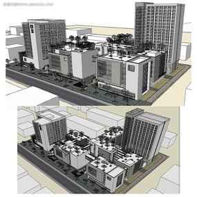 中式商业综合体建筑SU模型