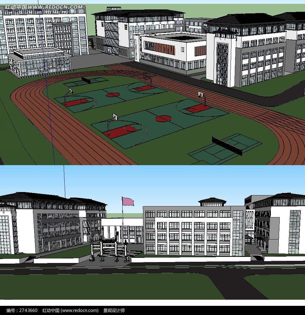 中式校园建筑SU模型图片
