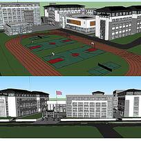 中式校园建筑SU模型