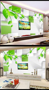 3D方块绿色竹林背景墙