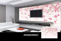 粉色花朵手绘电视背景墙