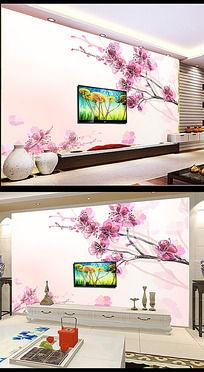 梦幻桃花花朵电视背景墙