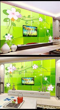 梦幻花卉电视背景墙