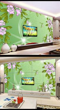梦幻手绘花卉电视背景墙