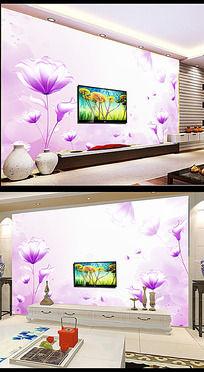 梦幻紫色花卉电视背景墙