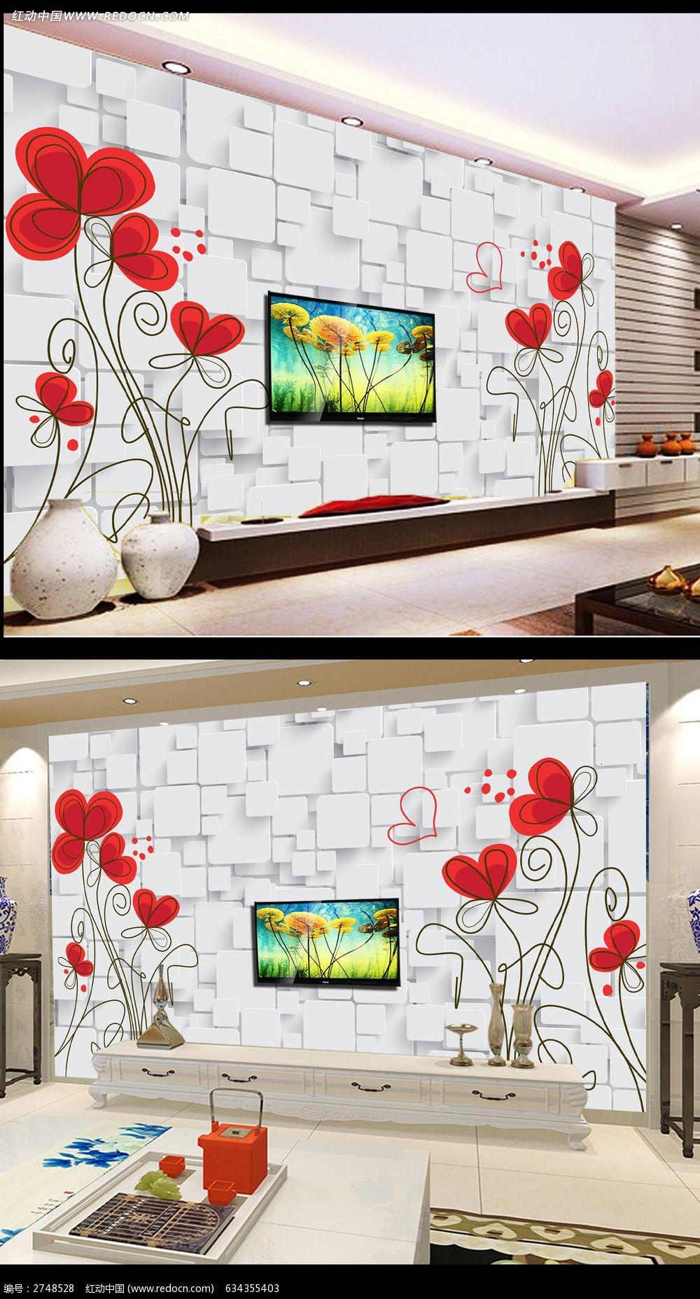 抽象欧式花朵电视背景墙设计