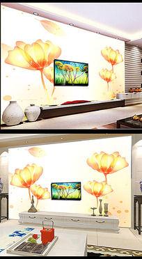 唯美花卉电视背景墙