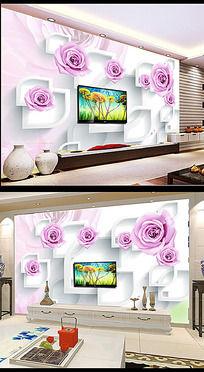 紫色玫瑰电视背景墙