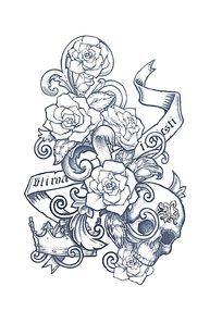创意玫瑰骷髅头T恤印花