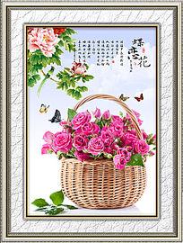 蝴蝶鲜花餐厅画