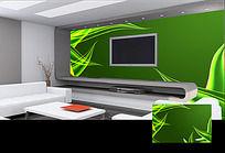 綠色抽象藤蔓背景墻