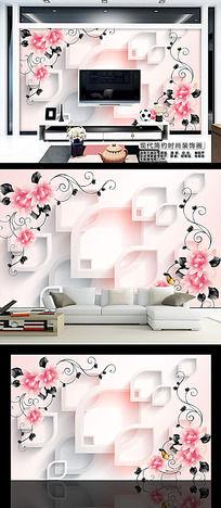 时尚花朵花纹3D电视背景墙